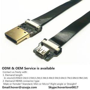 Xaja Ultrafino Super Macio o cabo HDMI Micro reta de ângulo recto Mini HDMI FFC Fpv Fêmea macho do cabo de fita plana