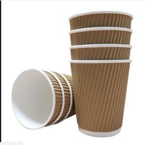 クラフトのさざ波の三倍の壁の熱い飲み物のペーパー使い捨て可能なコップ16oz