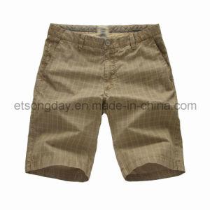Shorts 100% del plaid degli uomini del cotone di colore del Tan (S14-249)