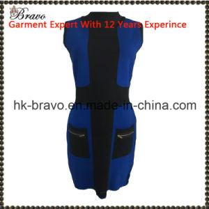 上の方法デザイン女性円形の首の袖なしのビスコースナイロン服(L305283A)