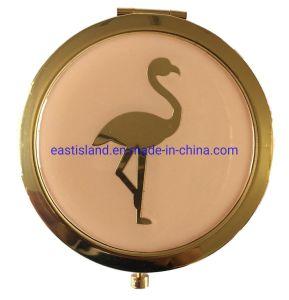 regalo de promoción de diseño de Flamingo espejo de maquillaje de oro con logotipo personalizado