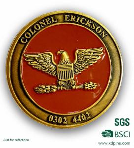 翼デザイン金の柔らかいEnamleの記念品の硬貨との工場によってめっきされる金カラー丸型