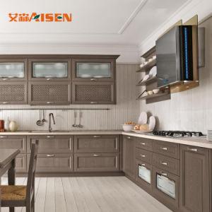 Preiswerte Fabrik-direkter moderner einfacher Entwurfs-festes Holz-Küche-Schrank