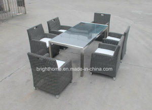 Outdoor、6 ChairsのIndoorのための柳細工のDining Table