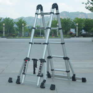 4+4m de extensão telescópica de alumínio escada escada dobrável Pt131
