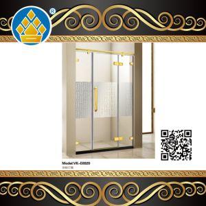 Golden em aço inoxidável de montagem para duche com vidro decoração Padrão