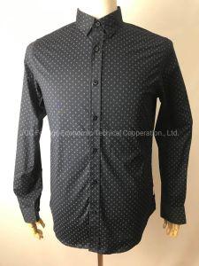 Stock de chemises Chemise à manches longues pour l'homme, 98% coton, 2% Spandex Poplin, de la Marine Blazer