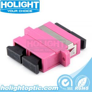 Sc de fibra óptica Om4 acoplador con brida