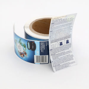 Logotipo personalizado el código de barras e impresión de papel autoadhesivo etiqueta etiqueta con estampado de lámina y laminado brillante