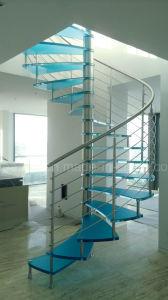 内部のためのガラスそしてステンレス鋼の螺旋階段は使用した