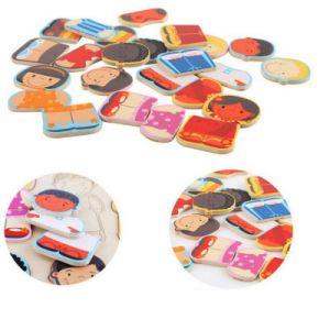 As crianças de madeira jogo educativo cognitivo Racial Blocos popular puzzle