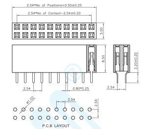 2.54 Terminal Pitch-U DIP estilo plataforma Fêmea