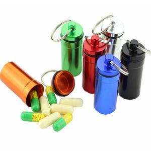 Mini водонепроницаемый алюминиевый медицины металлические таблетки расширительного бачка в салоне случае держатель контейнера с цепочки ключей