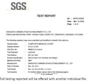 Tampa de Inspeção composto PT124 D400 com certificado SGS