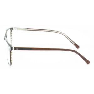 De bruine Mensen regelen de Dunne Optische Frames Eyewear van de Acetaat met de Decoratie van het Metaal