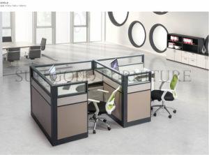 Mobilier de bureau en bois 4 sièges forme de l partition station de