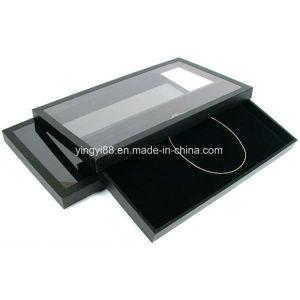 Rilievo nero su ordinazione della visualizzazione dei monili del velluto & cassetto acrilico del coperchio