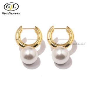 Мода 925 серебристые Pearl большая шпилька Earring украшения жемчуг серьги