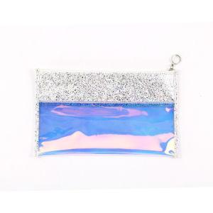 Brillando multi-funcional de la bolsa de embrague, traslúcido Láser de Piel bolso con cremallera para mujer