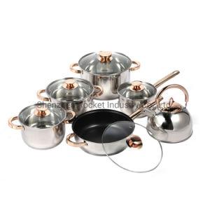 Comercio al por mayor 12pcs cazuela de acero inoxidable olla de hierro fundido establecen utensilios de cocina establecido