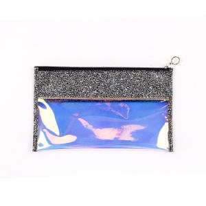 Saco de embreagem luminoso multifuncional, Translucence Laser de couro Zipper Mala para Mulheres