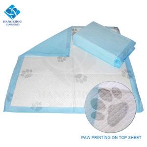 足の印刷を用いる使い捨て可能な子犬のトレーニングの小便のパッド
