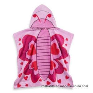 女の子の高品質の綿によって印刷される浴室タオル浜のポンチョ