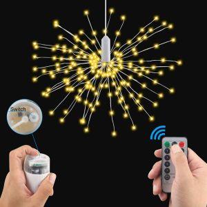 8つのモードの豆電球の党クリスマスのために防水120 LEDの電池式のハングのStarburstライト