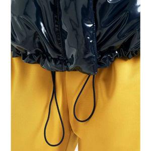 Delle signore di modo del blu marino rivestimento del pesce palla delle donne del cappotto del rivestimento del vinile giù