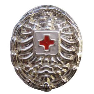 Fördernder Brust-Bekleidungszubehör-weicher Decklack-Goldende-Gott mit uns Firmenzeichen-Metallabzeichen (085)