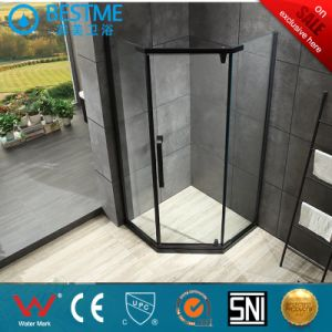Aço inoxidável preto de luxo com chuveiro de vidro temperado de duche de gabinete com chuveiro de instrumentos (BL-B0010-E)
