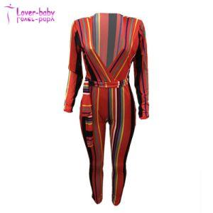 Sexy colorés Strippes deep-V Jumpsuit