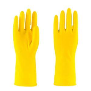 30g Seguridad hogar impermeable amarillo de goma de látex Guantes de trabajo
