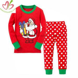 100%年の綿のクリスマスの衣服は子供の長い袖の縞のパジャマをセットした