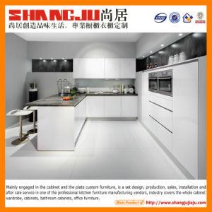 Branco Brilhante moderno armário de cozinha