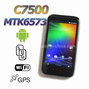 4 opende het Androïde 2.3 MTK6573 3G GPS van de duim WiFi Capacitieve Scherm C7500 Mobiele Telefoon