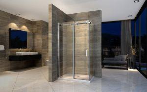 El cuarto de baño ducha deslizante de la puerta de cristal Alojamiento
