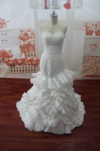 Sweetheart Real Photo Sleeveless Mermaid Wedding Dress (WDZ57)