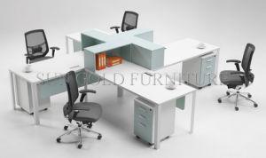 Station de travail moderne blanc avec étagère de bureau pour