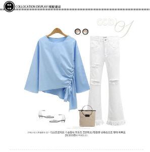 Nuevo irregular el cuello redondo Manga Larga Camiseta Camiseta holgada blusa de color sólido