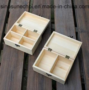 Casella di legno del supporto verniciata 4 scompartimenti della bustina di tè del pino