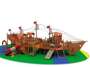 Los niños Multi-Activity patio al aire libre Diapositiva, barco pirata de madera especiales