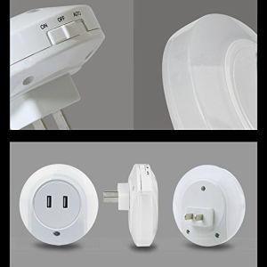 Пробка в ночное освещение, на закате на заре светодиод датчика ночного освещения, 5 В 2 A Двойной настенное зарядное устройство USB настольная лампа, Plug-in стены ночи Esg10447