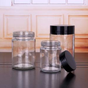 32oz 16oz 12oz 8oz 6oz 4oz 2oz 1oz cylindre Miel de stockage des pots en verre transparent avec la vis de bouchons en plastique
