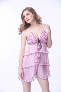 2018 Nouveau Modèle rose robe de nuit lingerie sexy avec des vagues de la conception