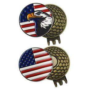 Kundenspezifisches überzogener Laser gravierter Hut-Klipp Form-Golf-Produkt-Gold/Silver-/Nickel/ antikes kupfernes Bronzeeisen für Dekoration (023)