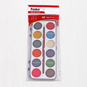 Foska 12 PCSブラシが付いている無毒な固体水カラーセット