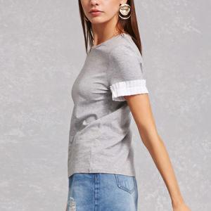 여자를 위한 주름을 잡은 팔목 둥근 목 t-셔츠