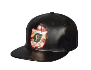 La moda al por mayor de 6 paneles frontales de cuero personalizada parche Tapa Plana Vuelva y sombrero