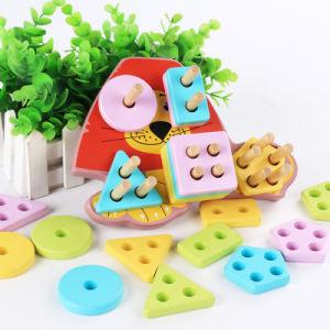 Leão geométrica de madeira cor forma de bloco de reconhecimento de empilhamento de triagem educacionais brinquedos para bebés